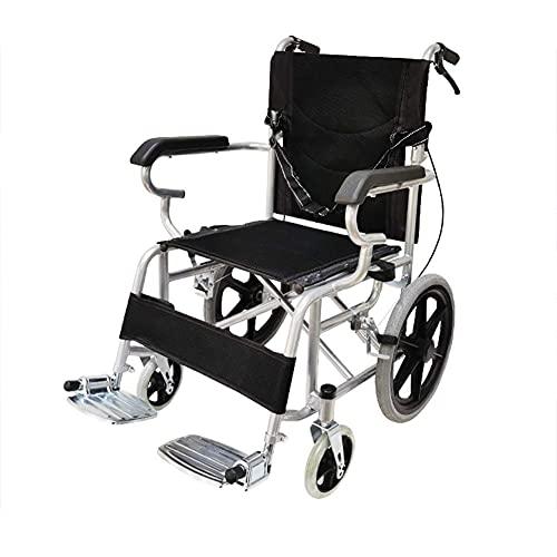 YIQIFEI Silla de ruedas de transporte autopropulsada ligera, sillas de ruedas deportivas plegables, reposapiés de tela de pierna extraíble, asiento de 18 pulgadas, silla de 16 pulgadas