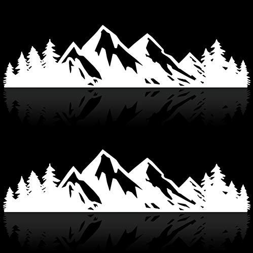 Vinyl Mountain Stickers Outdoor Bumper Stickers (2 Pack Outdoor Stickers) Mountains Please Decal or Adventure Stickers 7 Inches White Bomber Stickers