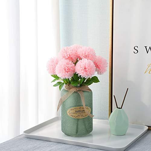 Tifuly Flores de Hortensia Artificial, 6 Piezas de crisantemo de Seda pequeña Bola de Flores para la decoración de la Oficina del jardín del hogar, Ramos de Novia, arreglos Florales(Rosa Claro)