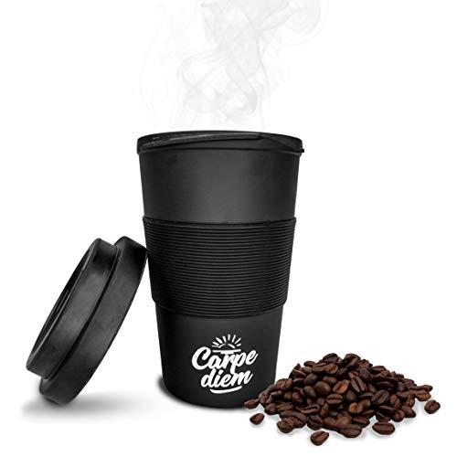Timeler ® Kaffee to Go Becher aus nachhaltigen Bambusfasern 400ml   Deckel mit Schraubverschluss   Umweltfreundlich & Ökologisch   Bamboo Cup Coffee