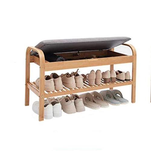 HSTD Home Shoe Rack, 2 Tiers Bamboo Shoe Bench With Storage Space and Seat Cushion, Shoes Organizer for Living Room,Hallway Cloakroom and Entryway, 90x 33 X 50 Cm Can be stored