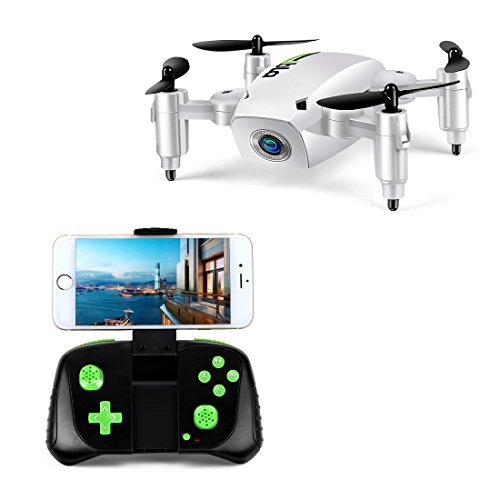 LBLA Mini Foldable RC Drone, FPV 2.4Ghz 6-Axis Gyro Altitude Hold RC Quadcopter with HD WiFi Camera … (White)