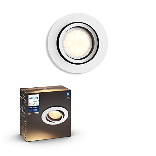 Philips Hue Milliskin foco empotrable Inteligente LED blanco con Bluetooth, Luz Blanca de Cálida a Fría, Compatible con Alexa y Google Home