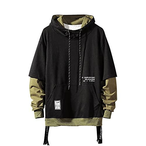 GURUNVANI Contrast Color Pullover Hoodie Mens Patchwork Hoodies Men (Black, XX-LARGE)