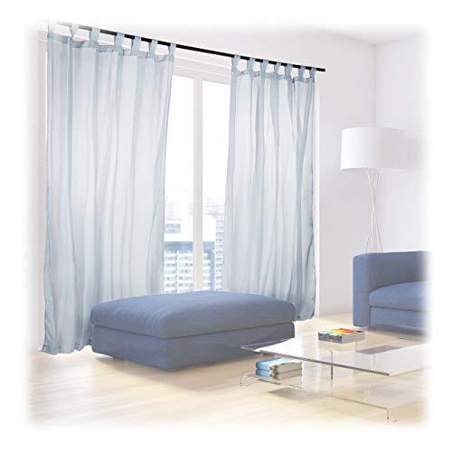 Relaxdays Vorhänge mit Schlaufen, 2er-Set, Voile, halbtransparente Gardinen, einfarbig, Polyester HxB 245x140 cm, Silber
