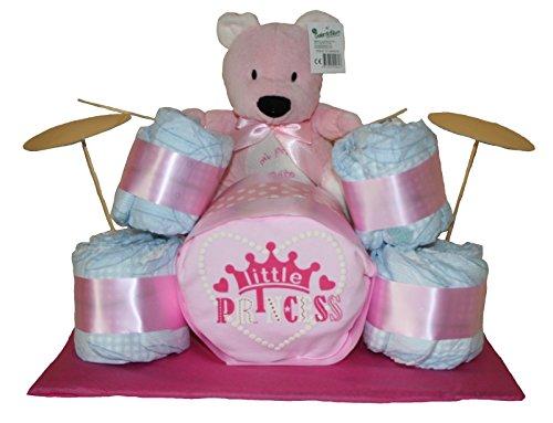 Batería de pañales en color rosa. Regalo original bebé niña - tarta de pañales - tarta pañales original