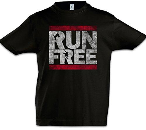 Urban Backwoods Run Free Niños Chicos Kids T-Shirt Negro Talla