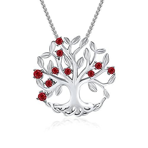 THEHORAE - Collar para mujer, diseño de árbol de la vida, colgante de piedra de nacimiento, joyas de circonio cúbico, regalo para marida, esposa, hija, cumpleaños, día de la madre