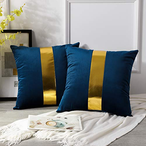 Artscope Navy Blue Velvet Cushion Covers with Gold Leather Stitching Luxury Modern Minimalist Square Pillowcase Throw Pillow Covers for Bed Couch Sofa 45x45cm Set of 2