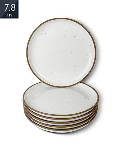 Mora Ceramic Plates, 7.8 inch - Set of 6 - The Dessert, Salad, Appetizer, Small Dinner etc Plate. Microwave, Oven, and Dishwasher Safe, Scratch Resistant. Kitchen Safe Porcelain Dish - Vanilla White