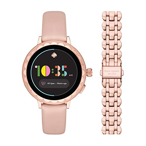 kate spade new york Women's Scallop 2 Stainless Steel Touchscreen smartwatch Watch with Leather Strap, Beige, 16 & Touchscreen (Model: KSS0066)