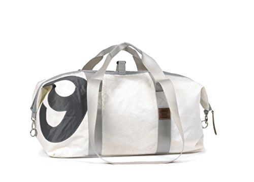 360° Grad Sporttasche aus Segeltuch Kutter XL weiss mit Zahl grau