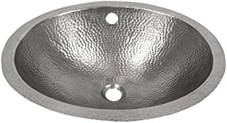 The Copper Factory CF170SN Solid Hand Hammered Copper 19-Inch by 16-Inch Oval Undermount Lavatory Sink, Satin Nickel