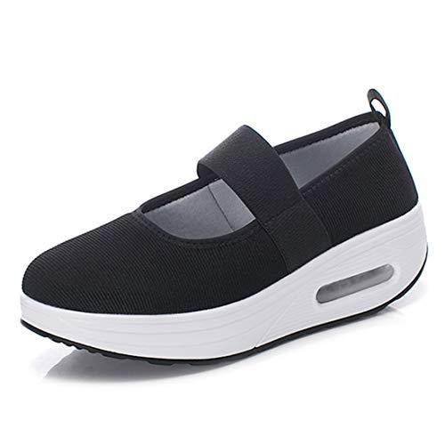 [Regibelie] レディース ナースシューズ スニーカー 厚底 ダイエットシューズ 安全靴 看護師 介護士 通気性 柔軟性 本革 通気 エアクッション付き お母さん 婦人靴 軽量 スニーカー 黒い ブラック 25.0cm