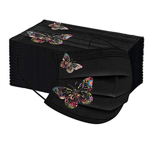 50 Stück Damen Mundschutz mit Schmetterling Schwarz Einweg Erwachsener Baumwolle Schmetterling Atmungsaktiv Staubdichte Mund und Nasenschutz Halstuch Bandana für Damen