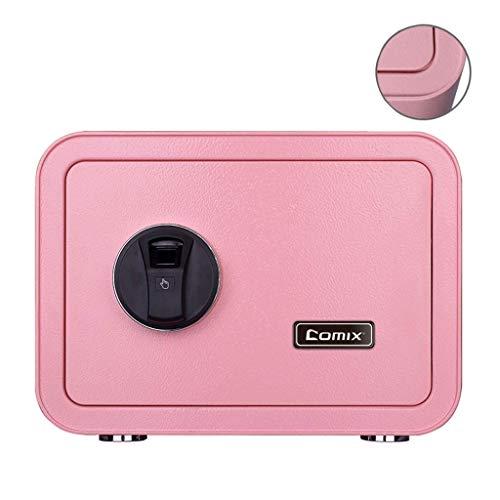 FZYE Cajas de depósito pequeñas para el hogar Mini contraseña Bloqueo de Huellas Dactilares Oficina del Tesoro Cajones de Efectivo Barreras de Acero Seguridad sólida (Color: Rosa, Tamañ