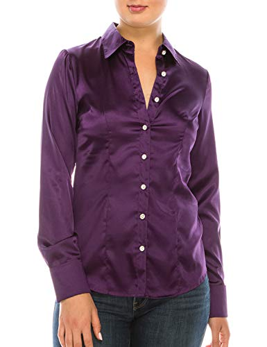 MAYSIX APPAREL Long Sleeve Satin Button Down Collar Office Formal Shirt Blouse for Women Purple L