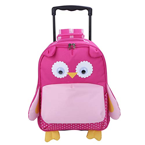 Yodo Zoo 3-Way Kids Suitcase Luggage or Toddler Rolling Backpack with wheels, Medium Owl