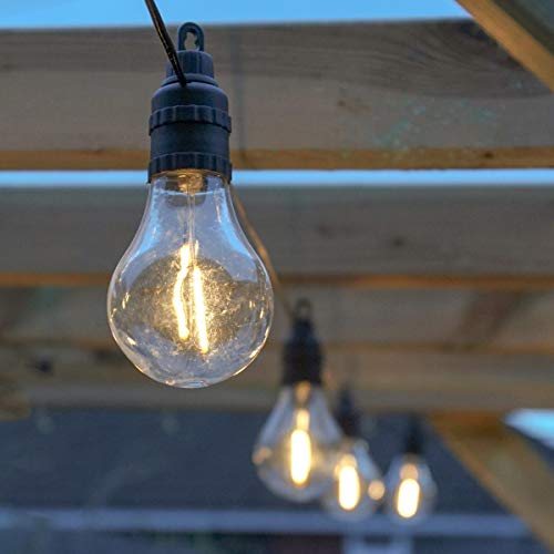 Outdoor Festoon Lights - Mains Powered Filament Effect LED A60 Bulbs - Plug in Waterproof String - 4.5m Lit Length - Decorative Lighting (Warm White)