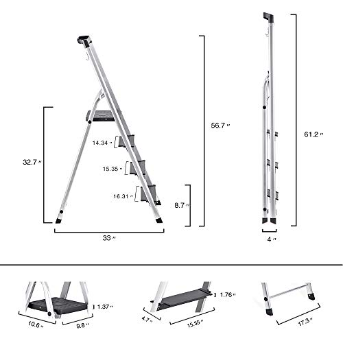 Delxo Lightweight Aluminum 4 Step Ladder with Tool Tray Folding Step Stool Stepladders Home and Kitchen Step Ladder Anti-Slip Sturdy and Wide Pedal Ladders 300lbs Capacity Space Saving (4 feet)
