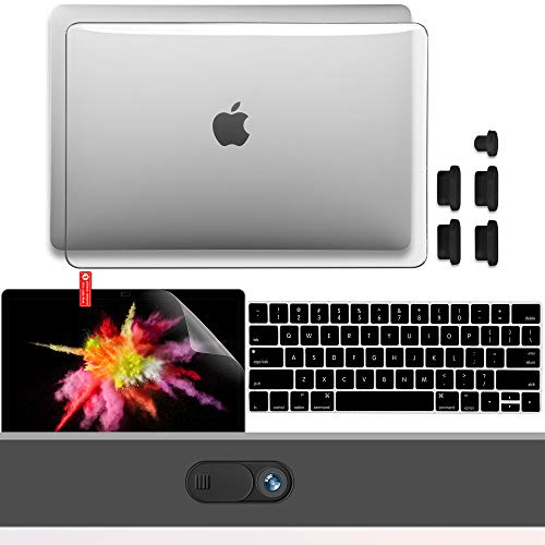 GMYLE MacBook Pro 13 inch Case 2020 2019 2018 2017 2016 Release A2338 M1 A2251 A2289 A2159 A1989, Hard Shell, Keyboard Cover, Screen Protector, Webcam Cover Slide, Anti Dust Plugs Set – Crystal Clear