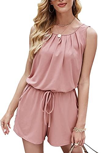 Odosalii Women's Sleeveless Leaves Romper Tassel Elastic Waist Playsuit Loose Short Jumpsuit… Pink