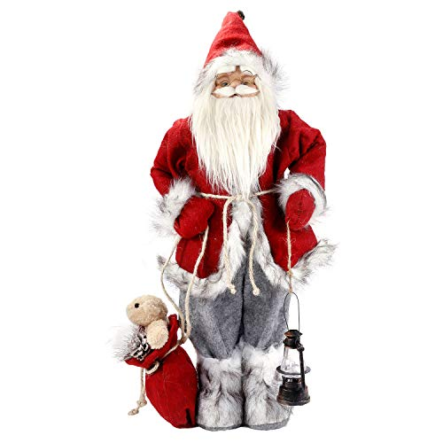 BeHeSo 24.3 Inches Santa Claus, Traditional Christmas Santa Figurine Decoration Xmas Decor for Holiday Party Home Decoration and Collectibles