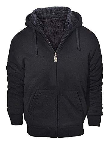 Men s Fleece Zip Up Hoodies for Winter Full-Zip Hooded Sweatshirt Black X-Large