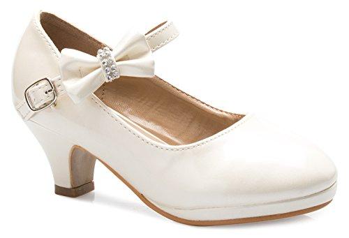 Olivia K Girls Bow Mary Jane Kitten Heel Pumps (Toddler/Little Girl), Ivory Y2