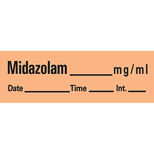 PDC AN-120 Anesthesia Removable Tape with Date, Time & Initial, Midazolam Mg/Ml, 1/2