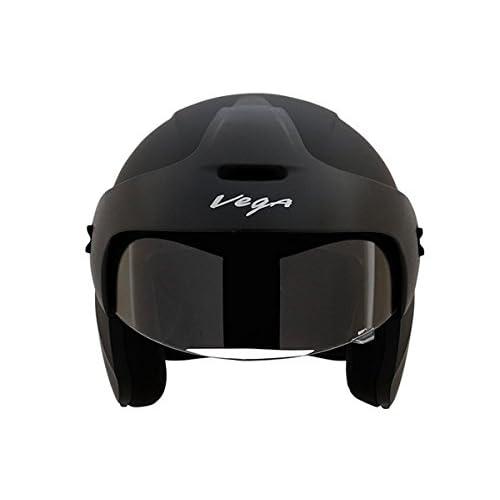 Vega BUD-OF-DK Half Face Helmet (Dull Black, XS)