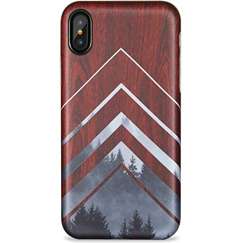 iPhone X Case,iPhone Xs Case,ZADORN Protective Thin Cover for Girls Women Men Clear Bumper Soft Silicone TPU Slim Fit Cute Best Phone Case for iPhone X/XS Fashion Design Red Wood and Grey Forest