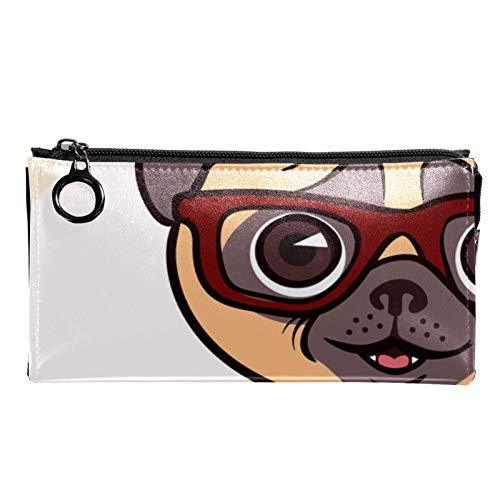 Neceser de Maquillaje Estuche Escolar para Cosméticos Bolsa de Aseo Grande Perro con Gafas y cámara de Pajarita