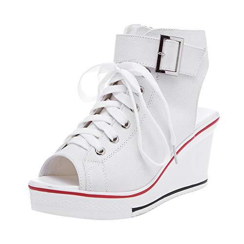 OCHENTA Women's Peep Toe Canvas Wedge Heeled Platform Fashion Sneaker #4 White Label 39 - US 8