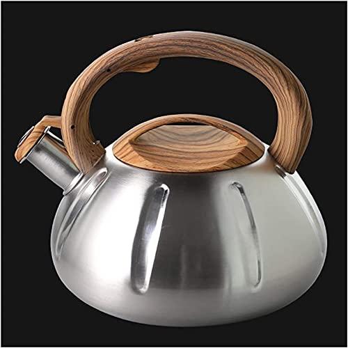 Hervidor de agua de acero inoxidable con silbato para estufa (3 L, 104 onzas)