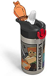 Zak Designs Minecraft - Stainless Steel Water Bottle with One Hand Operation Action Lid and Built-in Carrying Loop, Kids Water Bottle with Straw Spout is Perfect for Kids (15.5 oz, 18/8, BPA-Free)