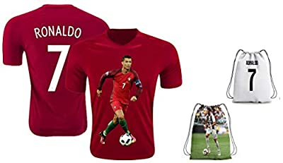 Ronaldo Jersey Style T-shirt Kids Cristiano Ronaldo Jersey Portugal T-shirt Gift Set Youth Sizes ? Premium Quality ? ? Soccer Backpack Gift Packaging (YL 10-13 Years Old, Ronaldo)