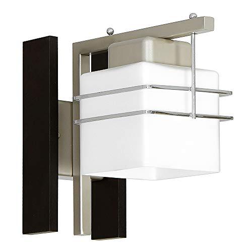 Wandleuchte in Wenge Weiß Bauhaus 1x E27 bis zu 60 Watt 230V aus Glas & Metall Flur Wohnzimmer Esszimmer Lampe Leuchten Wandlampe innen