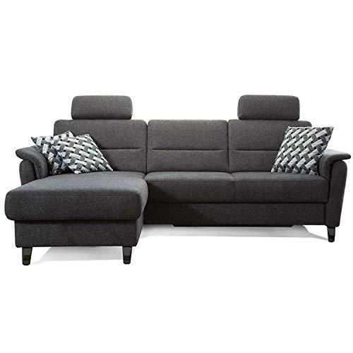 Cavadore Schlafsofa Palera mit Federkern / L-Form Sofa mit Schlaffunktion / 244 x 89 x 164 / Stoff Dunkelgrau