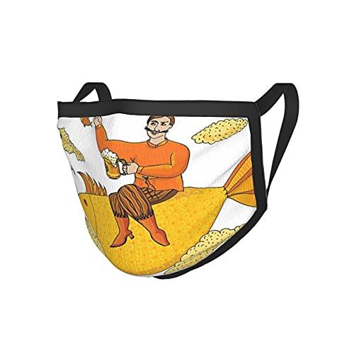 Manly Decor Collection Hombre Sosteniendo Gran Vaso De Cerveza Flotando Sobre Los Pescados Personaje De Dibujos Animados Nubes De Espuma Arte Imaginario Mostaza Borde Negro Mask.Cloth Mask