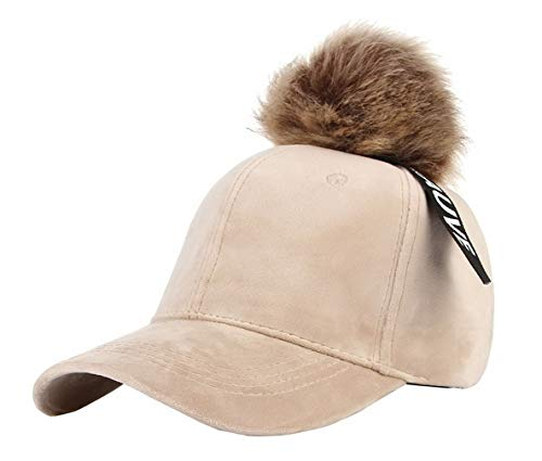 EOZY Damen Mütze mit Bommel Herbst Baseball Cap Schirmmütze Kappe Beige