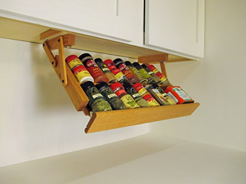 Ultimate Kitchen Storage Under Cabinet Spice Rack, Handmade Hardwood, Holds 16 Large or 32 Small Spice Containers