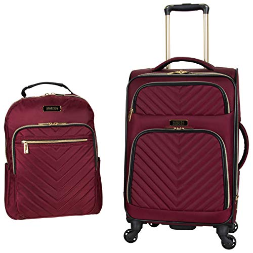 Kenneth Cole Reaction Women's Chelsea 2-Piece 20' Expandable 4-Wheel Carry-On Suitcase & Matching 15' Laptop Backpack, Burgundy