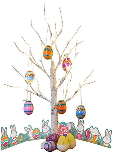 EAMBRITE Árbol de Luz LED 60cm Abedul de Pascua 24LT Luz Blanca Cálida con 10 Adornos Colgantes de Huevos de Pascua Decoración del Hogar para Pascua de Resurrección Cumpleaños Regalo Aniversario