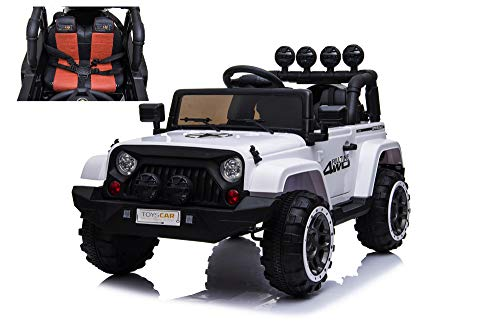 TOYSCAR electronic way to drive Auto Macchina Elettrica per Bambini Fuoristrada Bianca 12V MP3 LED con Telecomando Full Optional Sedili in Pelle