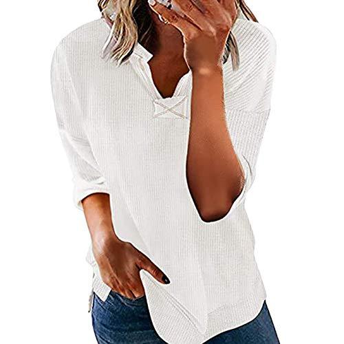 T-Shirt Donna Moda Tempo Libero Tinta Unita Manica Corta Scollo a V Casual Top Larghi (XL,Bianca)