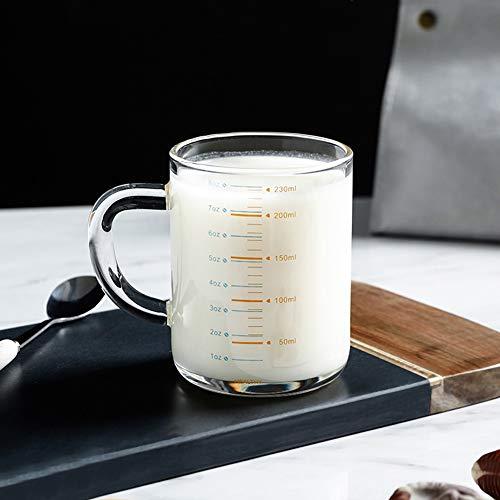 Qchomee Glas Messbecher mit Skala Borosilikatglas Mini-Messbecher Hitzebeständig Espressotassen mit Henkel Trinkgläser Transparent Shotglas Spülmaschinenfest Snackglas Shot Glas 230ML Messkanne