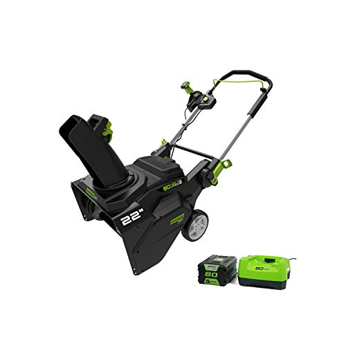 Buy Discount Greenworks SNB403 22-Inch 80V Cordless Brushless Snow Thrower, 4.0AH Battery