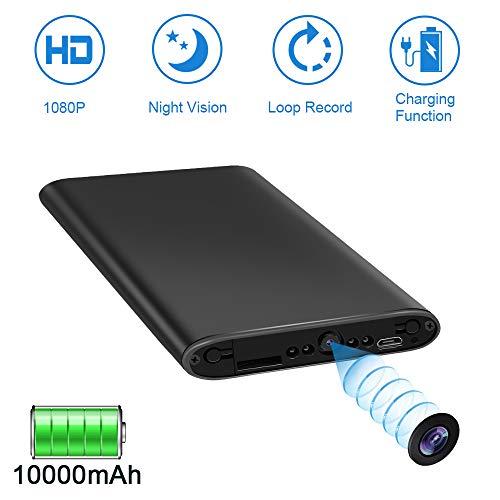 LXMIMI Caméra Espion 1080P Caméra Cachée 10000mAh Power Bank Caméra de Surveillance avec Fonction Vision Nocturne/Détection de Mouvement/Enregistrement en Boucle pour Intérieur et Extérieur