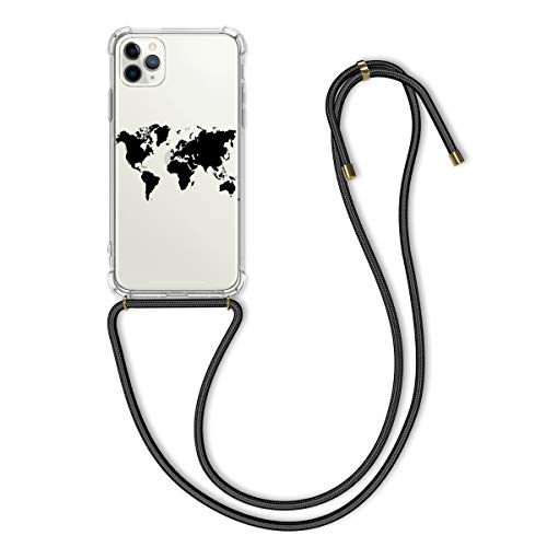 kwmobile Crossbody Case Compatible with Apple iPhone 11 Pro - Clear TPU Cell Phone Mobile Cover Holder with Neck Cord Lanyard Strap - Travel Outline Black/Transparent